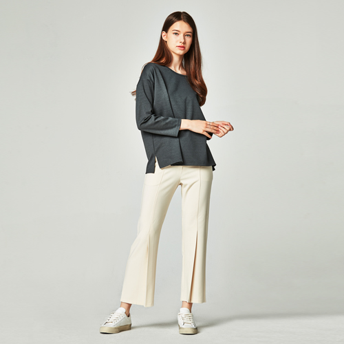 MANAVIS7(마나비스세븐) LONG WIDE PINTUCK SLACKS CREAM